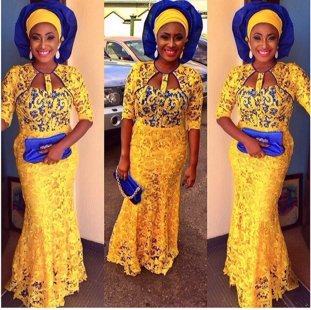 Wedding Glam: Asoebi Colours: Yellow and Blue