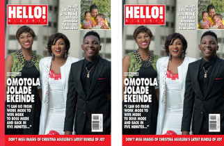 Omotola Jalede-Ekehinde And Her Kids Cover The Latest Issue Of Hello! Nigeria