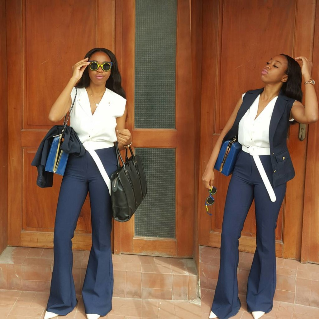 Look 5: @imperfect_verbalista looks gorg in her choice of matching her blue pants with a tee and jacket!