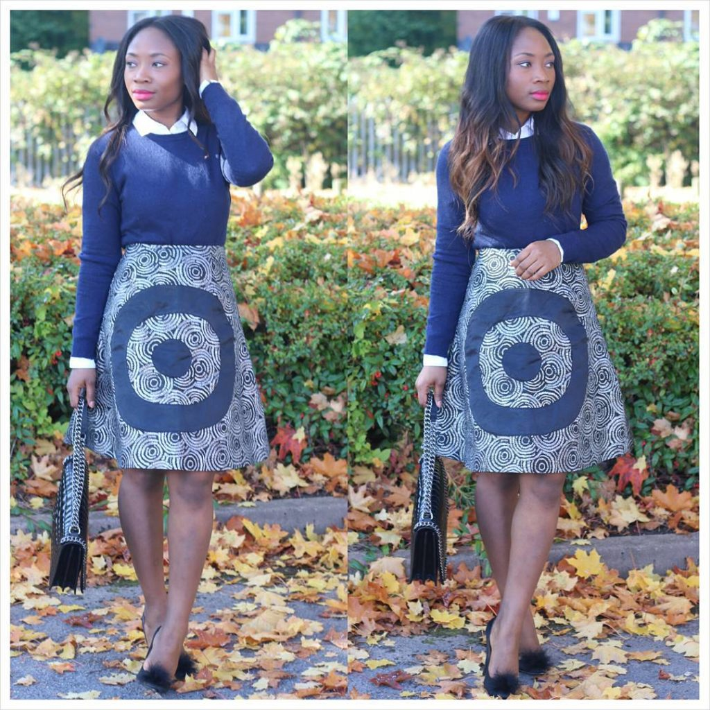 Look 1: @edaowofashion looks too gorgeous in her print skirt. And she kills her look with the perfect sweater and shirt picks!