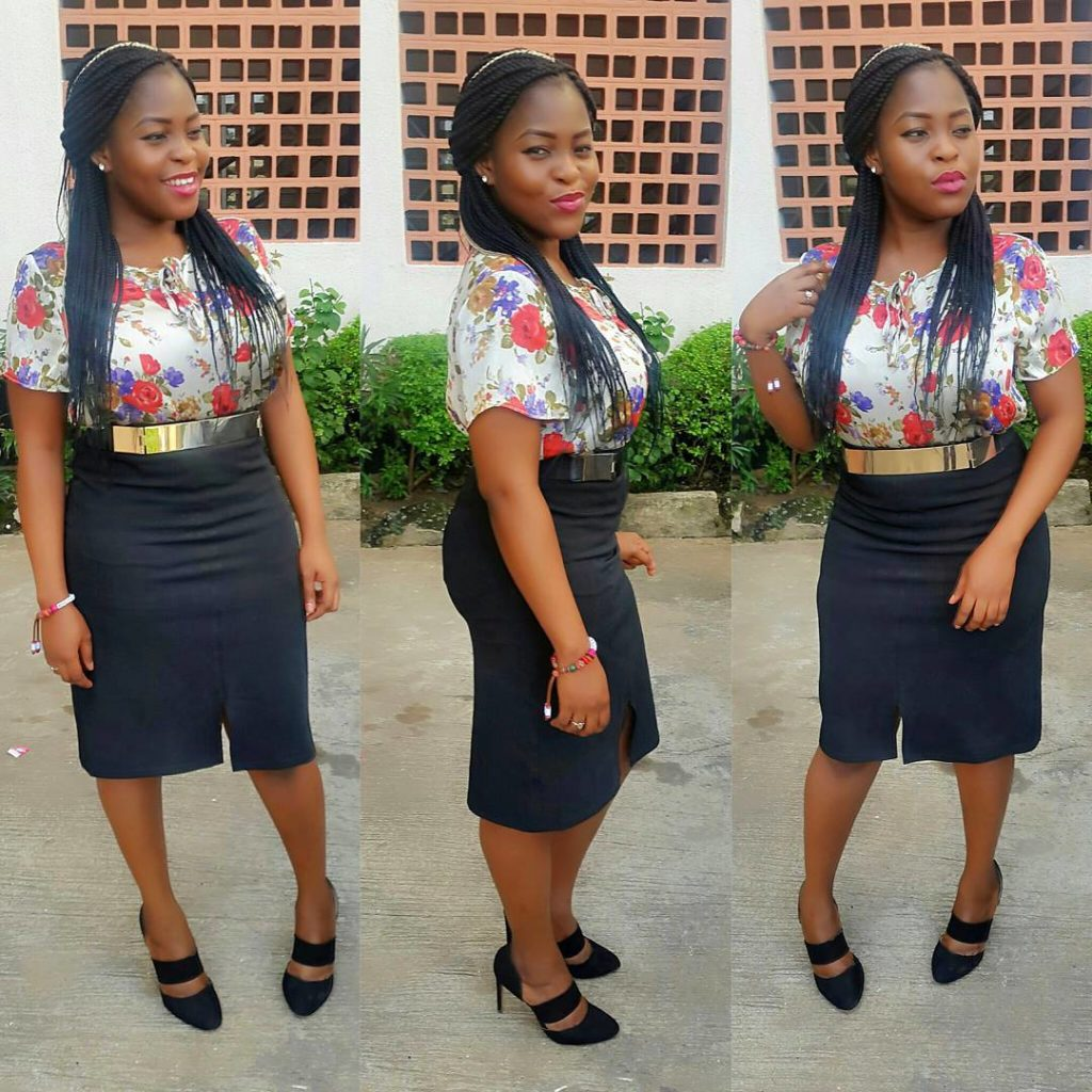 Look 5: @mz_tessy keeps it simple in a chiffon blouse and front slit black skirt