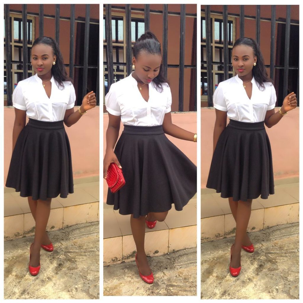 Look 4: @ominifabulous1 looks fab in her black pleated skirt. A white shirt always saves the day!