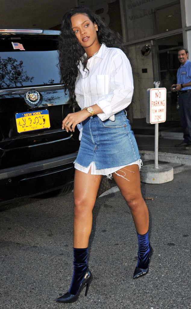 rihanna-new-york-city-balenciaga-broken-heel-blue-velvet-sock-boots