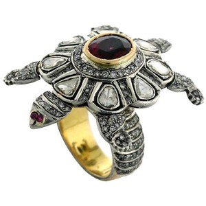 Preowned Rose cut Diamond Tourmaline  Gold Turtle Ring