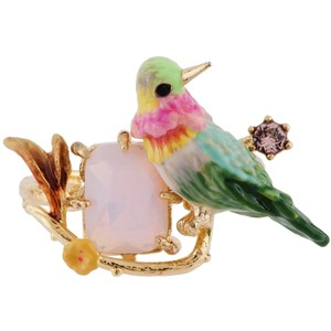 Les Nerides Loves Animals Humming Bird  And Stone Adjustable Ring.