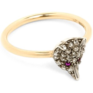 ANNINA VOGEL 9ct silver-set yellow-gold, ruby and rose-cut diamond fox ring