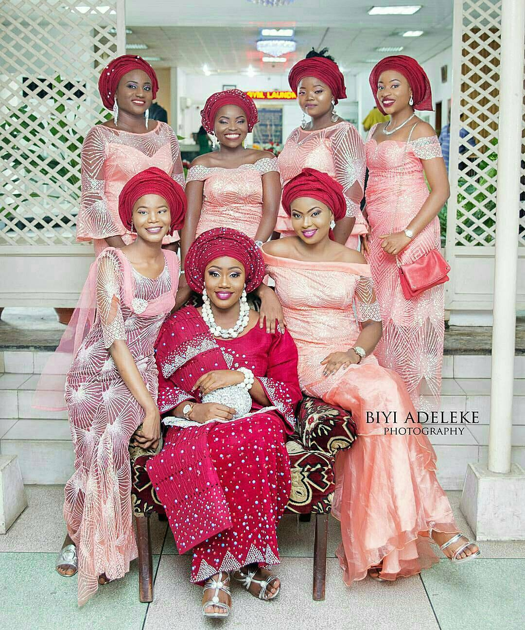 bride and her asoebi