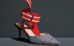 Monse houndstooth leather slingback pumps
