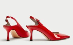 ZARA FAUX PATENT COURT SHOES WITH PRINTED LINING 1