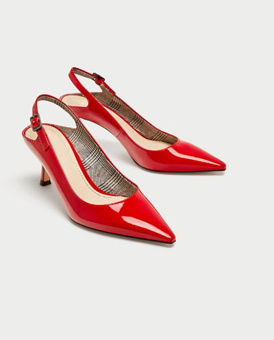 ZARA FAUX PATENT COURT SHOES WITH PRINTED LINING 3